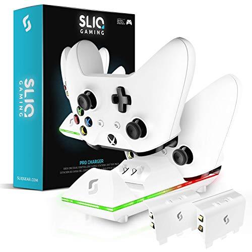 Sliq Ladestation und Akku-Pack für Xbox One / One X / One S Controller - passend für zwei kabellose Gamepads, inkl. 2 wiederaufladbaren Akkus - auch kompatibel mit Elite und PC Versionen
