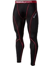 Tesla Smart-Sports - Leggings deportivos - para hombre Negro Black/Red Stitch Talla:Tag M (UK Small)