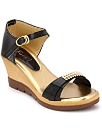Rimezs Black Buckle Closure Casual And Party Wear Wedges Sandal For Women And Girls