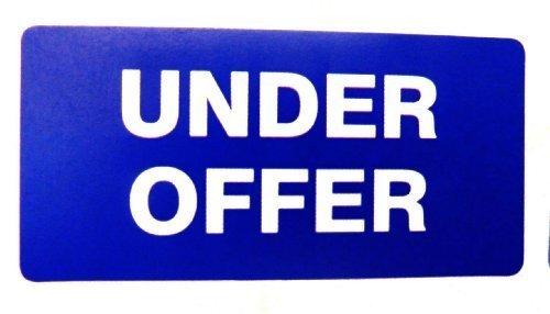 Etiquetas para Viviendas en venta , texto: Under OFFER ,azul,Rectangulo,inmuebles & ALQUILERES Agente pegatinas autoadhesivas