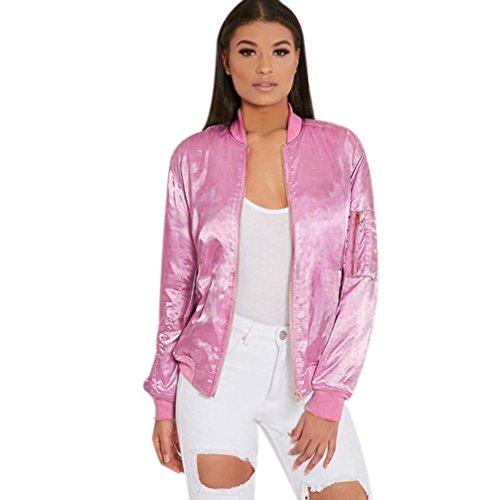 Fleece Vintage Blazer (Sannysis Damen-Rosa Zipper Vintage-Blazer-Jacken-Mantel Outwear (M, Rosa))
