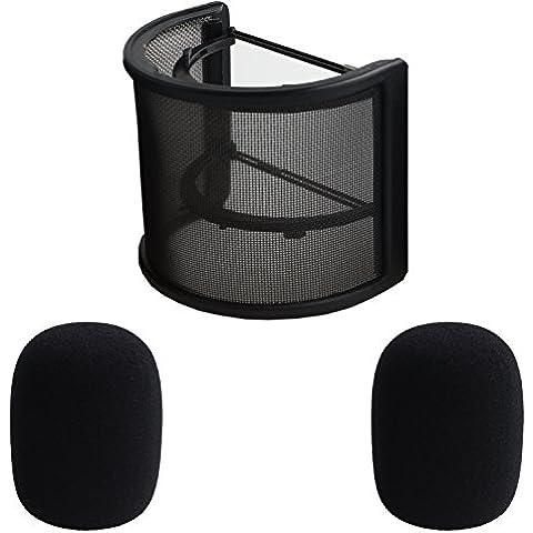 SUBANG Studio di registrazione microfono parabrezza Pop Filter con microfono in schiuma, confezione da 2, colore: nero - Schiuma Microfono Parabrezza