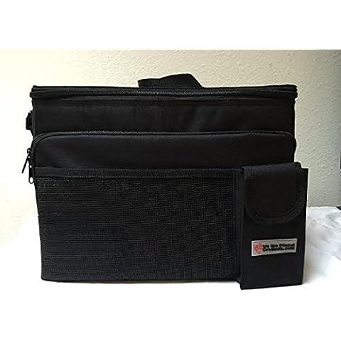 Bolsa Grande Resistente Multi Compartimiento, para almuerzo/Peso ligero/bolsa térmica/lado suave, con correa para el hombro | aislante para refrigeración máxima | elegante negro exterior | capacidad de 5 kg