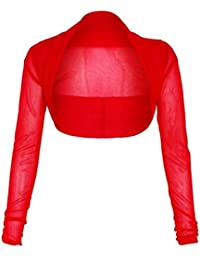 New Womens Mesh Chiffon Longsleeve Bolero Shrug Cardigan Top 8-22
