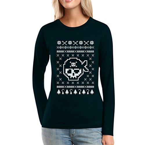 Piraten Totenkopf Hässlicher Weihnachtspullover Motiv Frauen Langarm-T-Shirt Schwarz