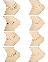 Besteel 8 Piezas Tobilleras Pulsera para Mujer Cuentas Tobilleras Cadena con Infinito Hoja Colgantes Imitación de