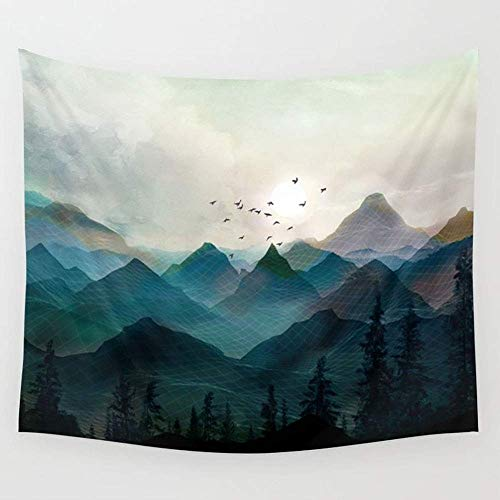 """TRUIOKO Mountain Sunrise IIWall Hanging for Bedroom Living Room Dorm Wall Tapestry Decor,80"""" X 60"""" Inches"""