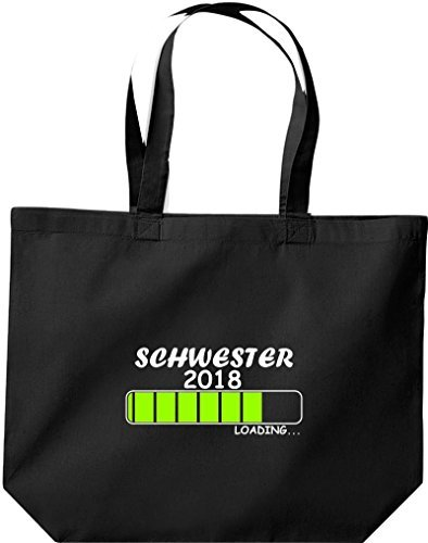 Shirtinstyle Big Shopping Bag Sister 2018 Caricamento Regalo Di Nascita Nero