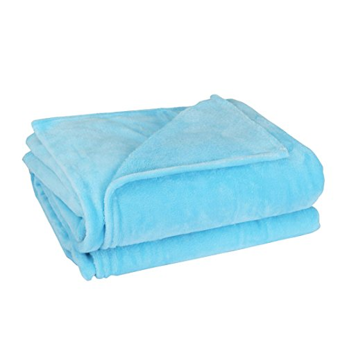Coperta cpriletto sourcingmap collezione tutte le stagioni in lana di pecora morbida lussuosa per letto o divano t/f/q - azzurro cielo 2 x 2,3 m, 200 x 230cm/78