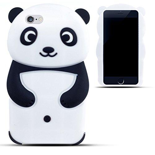 SKS Distribution® In bianco e nero panda felice Custodia in silicone / Cover / Case per Apple Iphone 6 / 6S