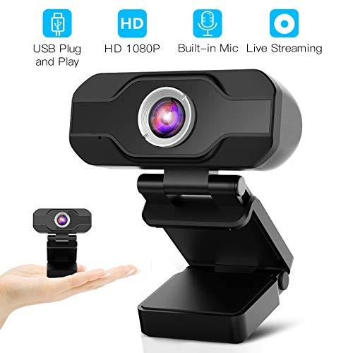 Webcam 1080P, Webcam PC pour Ordinateur de Bureau et Portable USB, Mini-caméra vidéo...