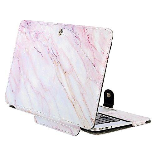 MOSISO Hülle Kompatibel MacBook Air 13 Zoll, Premium Qualität PU Leder Schlanke Schutzhülle Tasche Cover Kompatibel MacBook Air 13 Zoll (A1369 / A1466), Rosa Marmor 13 Premium-leder