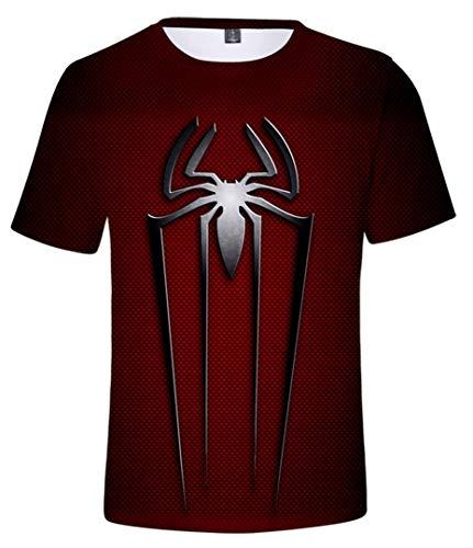 Silver Basic Herren 3D T-Shirt Avengers Superheld Kostüm Spiderman Männer Kurzärmliges T-Shirt,silbere Spinne,L