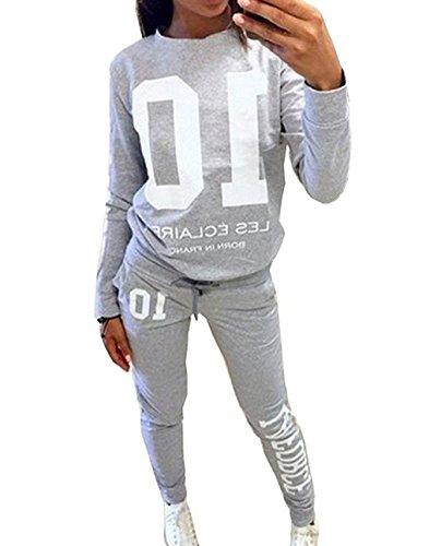 DTWYCQ Damen Jogginganzug Langarm Anzug Pullover Sportanzug Trainingsanzug Sweatshirt Anzug mit Hose 2pcs (Grau, L/EU38)