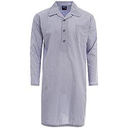 Harvey James - Camiseta de Pijama - Rayas - con Botones - Manga Larga - para Hombre Azul Rayas Azules Large