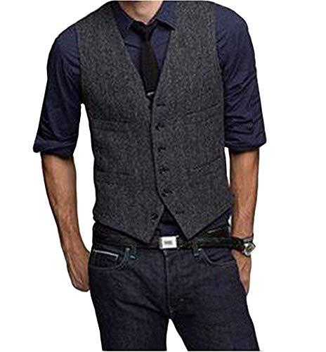 Lovee Tux Herren Casual Suit Westen Wolle Herringbone Tweed Weste Slim Sleeveless Suit Jacket Groomsmen(XXL,Schwarz) -