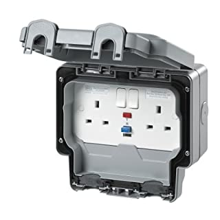 MK Masterseal Plus K56231GRY 13 amp 2-Gang RCD Protected Socket (Active)