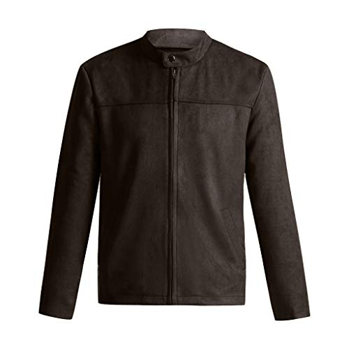 Yvelands Herren Bluse Herbst Winter reißverschluss schlank Langarm Anzug Jacke Trenchcoat top (Khaki,CN-L)