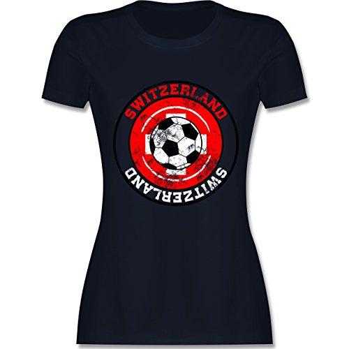 EM 2016 - Frankreich - Switzerland Kreis & Fußball Vintage - tailliertes Premium T-Shirt mit Rundhalsausschnitt für Damen Navy Blau