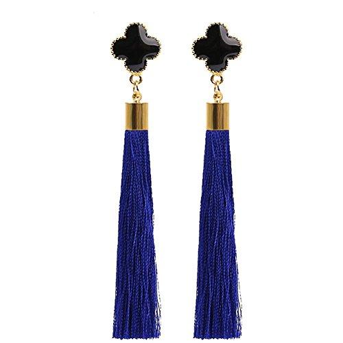 Elegante goccia di nappa ciondola gli orecchini per i monili di cerimonia nuziale del partito di cerimonia nuziale delle donne (blu)