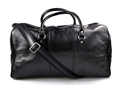 Leder reisetasche manner damen mit griffen schultertasche leder made in Italy weekend tasche reise tasche sporttasche schwarz -