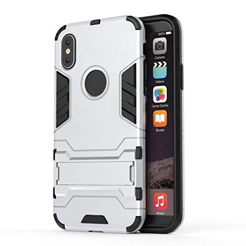 YHUISEN iPhone X Fall, 2 in 1 Eisen Rüstung Tough Style Hybrid Dual Layer Rüstung Defender PC + TPU Schutzhülle mit Stand Shockproof Case für iPhone X (2017) ( Color : Blue ) Silver
