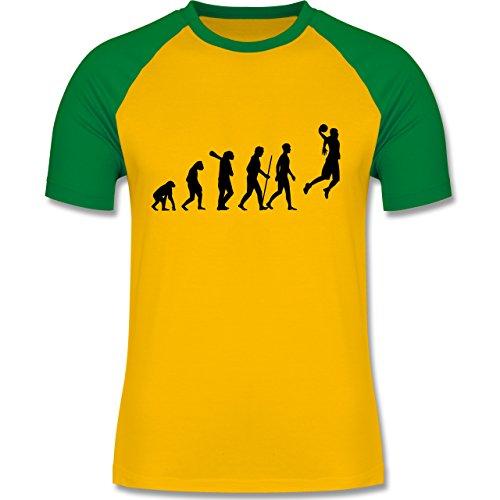 Evolution - Basketball Evolution - zweifarbiges Baseballshirt für Männer Gelb/Grün