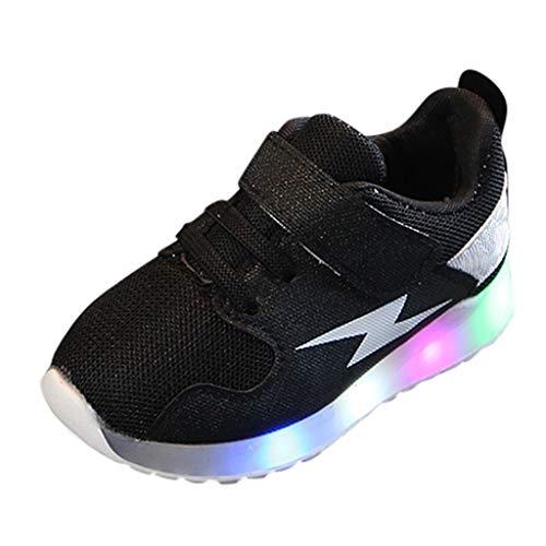 BoyYang Unisex Kinder Schuhe LED Licht Babyschuhe Krabbelschuhe Turnschuhe Lauflernschuhe Sneaker Weiche Sohle Lederschuhe Erste Kinderschuhe Kleinkind für Mädchen Jungen (26,Schwarz)