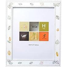 UberLyfe Beautiful Leaves Graphic Photo Frame in Pristine White MDF Wood - 20.3cm x 25.4cm (PF-000574-LEAF8BY10)