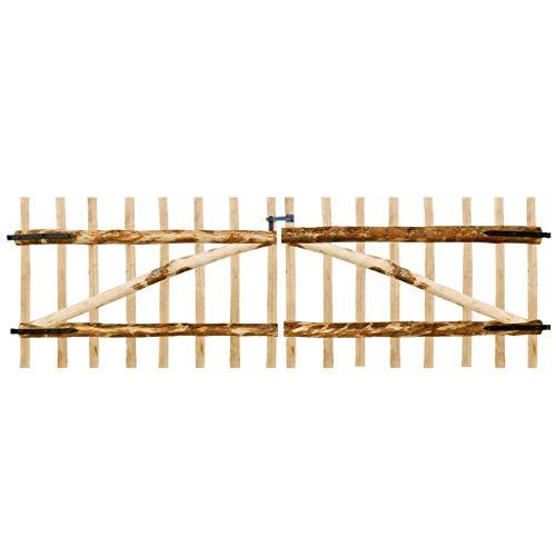 vidaXL Portillon Double pour clôture Bois de noisetier 300 x 100 cm