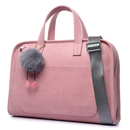 DLMPT Laptoptasche Wasserdicht Schulter Tasche Arbeitstasche Handtasche mit Schultergurt Messenger Bag Laptop Umhängetasche für HP, Acer, Lenovo, Asus, Dell,Rosa,15inch