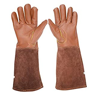 Rose Pruning Gloves, Lalafancy Thorn Proof Goatskin Leather Gardening Gloves Long Cowhide Gauntlet Protection for Men and Women
