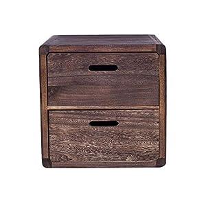 Rebecca SRL Nachttischschublade Nachtkästchen niedrig dunkel Holz 2 Schubladen (Code RE4148)