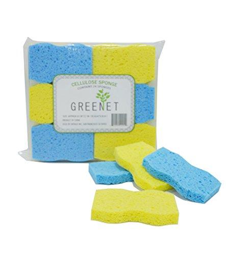 Greenet - Esponjas de limpieza de celulosa - Pack de 24 esponjas de cocina 100% natural + 2 almohadillas de estropajo resistentes - Super duraderas, reutilizables y biodegradables