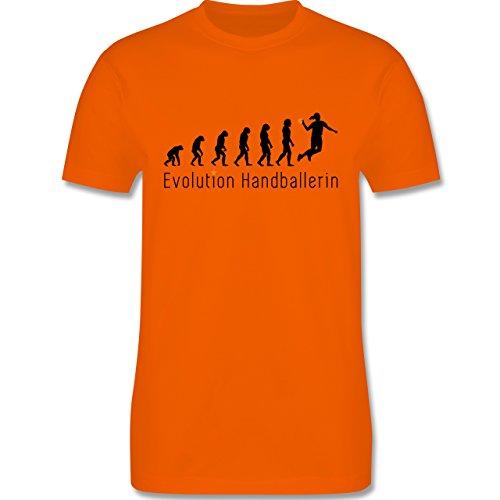 Evolution - Handballerin Evolution Wurf - Herren Premium T-Shirt Orange