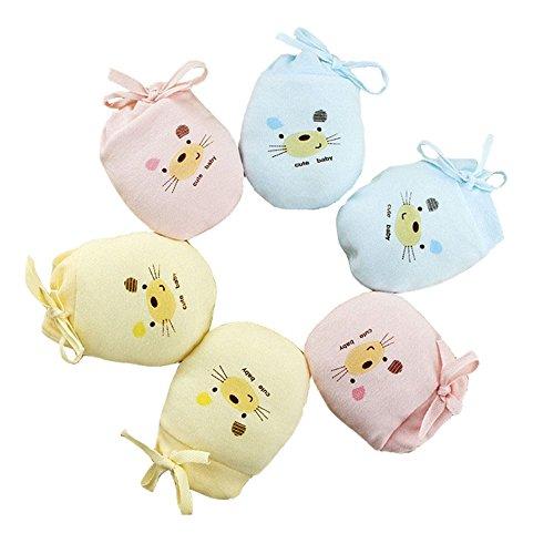 ZGJ Affe 3 Paare Baby Handschuhe Neugeborene No Scratch Fäustlinge Kratzhandschuhe Unisex (3 Farben Zusammen)