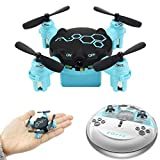 Regalos para niños Padre Madre, 0.3MP Beetle Mini Pocket Drone con cámara Modo sin Cabeza RC Quadcopter RTF-360 ° Flips, Cámara incorporada, Luces LED,Blue