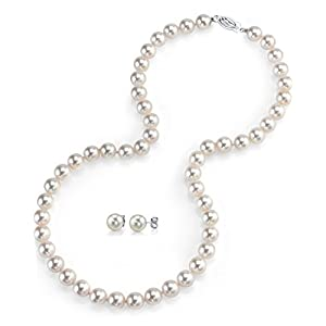 &Süßwasser Zuchtperle Halskette Ohrringe Set, 45,7 cm Kettenlänge, Qualität AAAA