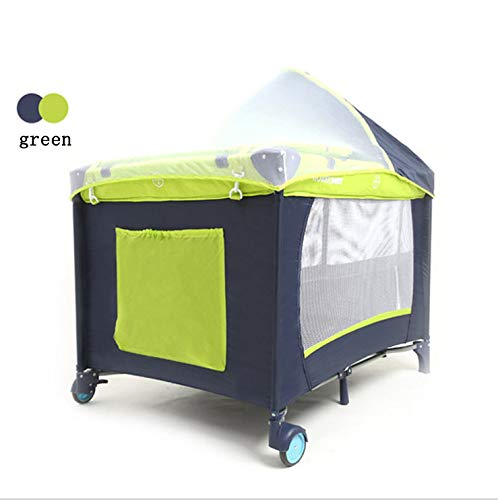 Mr.LQ Crib Folding Crib Multi-Function Game Bed Portable Bunk Bed Crib Fence Custom Baby Game Bed Bed,Green  1, atmospheric design (European style, atmospheric design) 2, health and environmental protection (baby play peace of mind) 3, multi-function (sleep and play two functions) 1