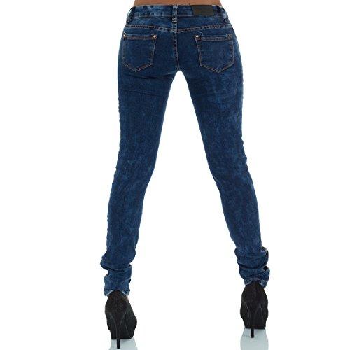 malucas Damen Jeans Slim Fit Hose Stretch Röhrenjeans Hüftjeans Hüfthose Skinny Blau