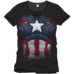 Captain America - Capitán América - T-Shirt Marvel super héroe - Camiseta con licencia - Negro - M