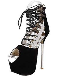 Tacones altos para las mujeres, para el trabajo Utilidad del calzado Gladiador Plataforma de dedo