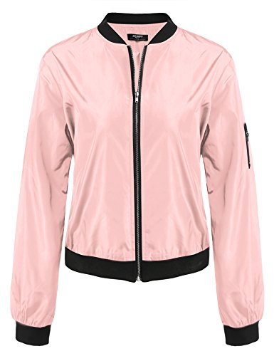 Zeagoo Damen Herbst Winter Steppmantel Bomberjacke Daunenjacke mit Futter Bikerjacke Kurz Jacke, Gr-EU 34 (Herstellergröße: S), ,Rosa