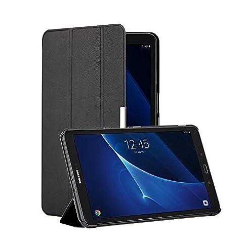 EasyAcc Samsung Galaxy Tab A 10.1 Hülle, EasyAcc Samsung Galaxy Tab A6 10.1 Zoll T580N/ T585N Case Schutzhülle Hochwertiges PU Leder Etui - mit Automatischem Schlaf Funktion und Standfunktion (Schwarz Dunkles, Kunstleder, Ultra Dünn)