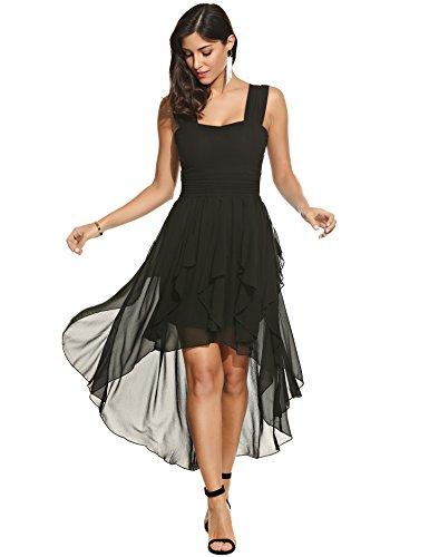 Beyove Damen Chiffonkleid Abendkleid Knielang Elegant Vokuhila Kleid ...