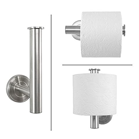 Ambiente Bathroom Range Toilet Roll Holder, Toilet Roll Holder Spare Toilet Roll Holder 2-In-1Durable Matt Stainless Steel Wall