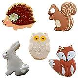 Formine per biscotti a forma di coniglio, Owl, Fox, riccio e scoiattolo 5pezzi per bambini set di coppapasta per biscotti da Iindes