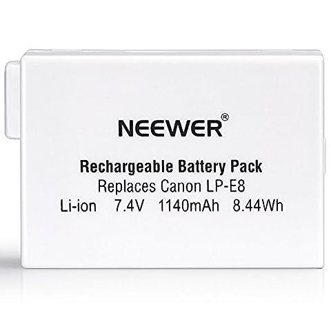 Neewer® Remplacement Rechargeable LP-E8 Li-ion 1140 mAh Batterie pour BG-E8