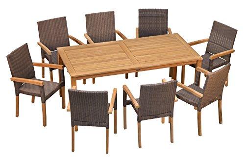 Sitzgruppe Teak Tisch London 180 cm, 8X Stapelsessel Livorno robust & elegant ✓