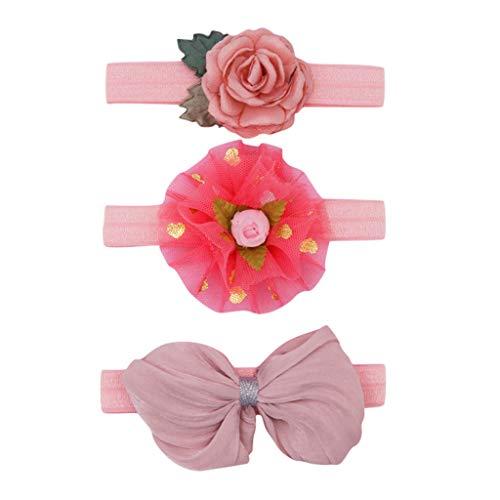 Cuteelf Baby Kinder Haarband Mädchen Stirnband Kopfband Blumen Blüte Haarschmuck Headband Hairband Blumenstirnbandbaby-elastischer Bogenzusatzhaarbandsatz der Kinder mit 3 Stücken